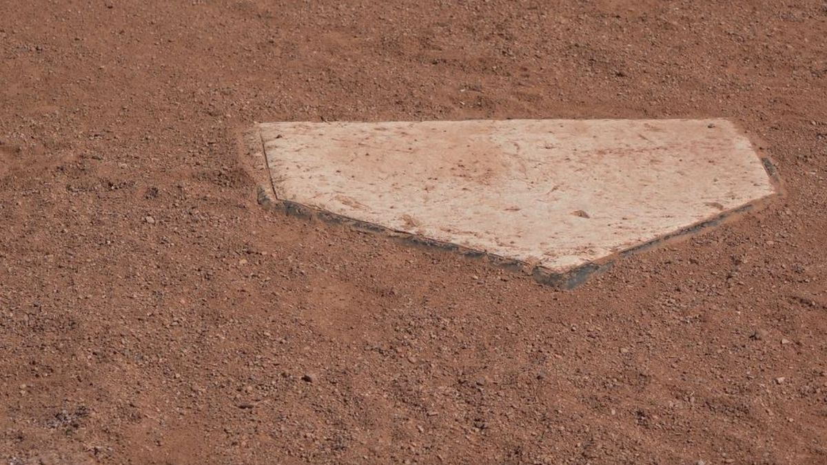 The home plate at one of the fields at the Field of Dreams complex in Casper, Wyo.