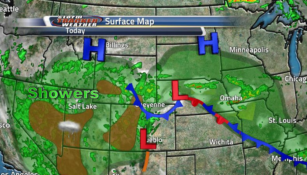 The stationary front sitting over us right now bringing our showers and storms, as well as...