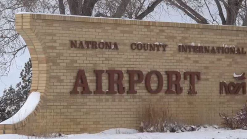 The sign at Casper-Natrona County International Airport's entrance in Natrona County, Wyo.