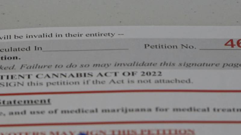 One of the petitions to get two marijuana initiatives on the 2022 ballot
