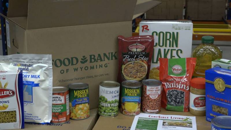 The content inside an evergreen box from Food Bank of Wyoming