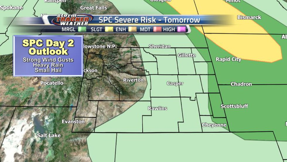 The eastern half of the state is under a general thunderstorm risk while the eastern border can...