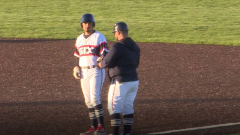 Dominic Lopez in on first base after an RBI single in Cheyenne Post Six's 8-1 victory over the...