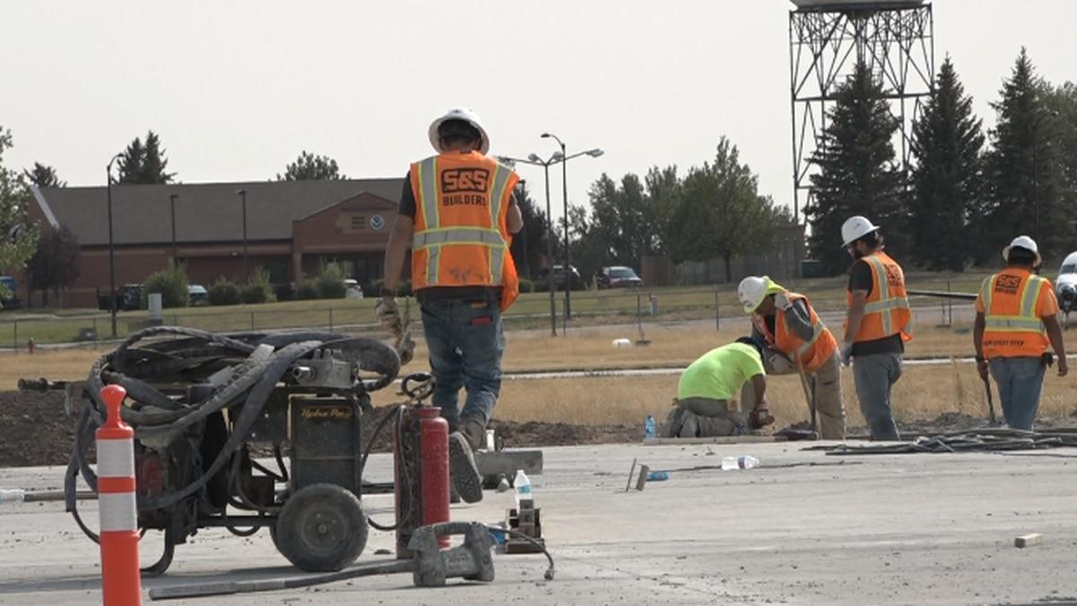 Construction on the Cheyenne Regional Airport runway