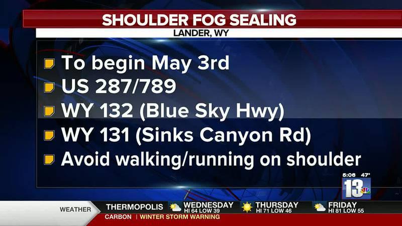 Fog sealing to start outside of Lander on May 3rd