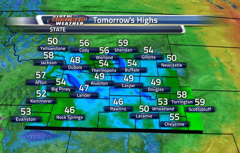High temperatures tomorrow will be in the 40s and 50s across the state.
