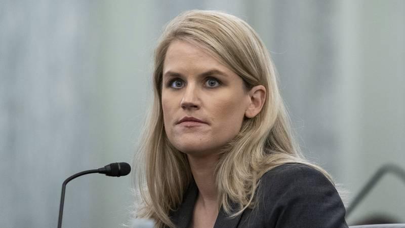 FILE - Former Facebook data scientist Frances Haugen speaks during a hearing of the Senate...