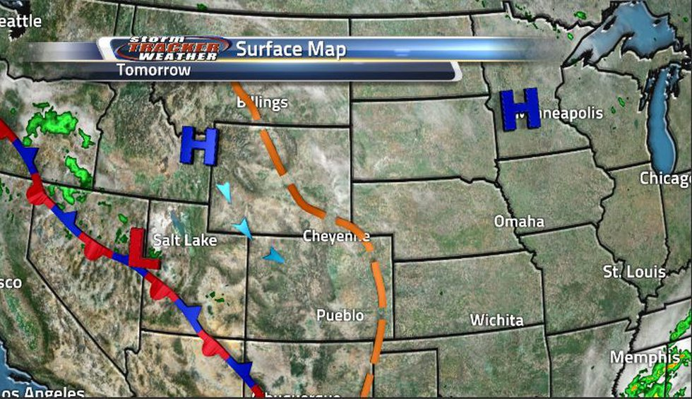 High pressure continues to dominate the region pushing away the clouds brought on by a trough....
