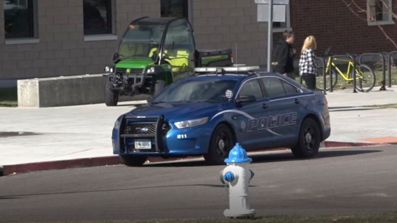 A Casper Police car parked outside Natrona County High School in Casper, Wyo. on Friday, Oct....