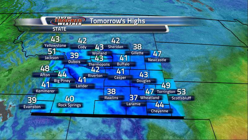 Temperatures tomorrow will resemble more so the lows that we will be seeing overnight. That is...