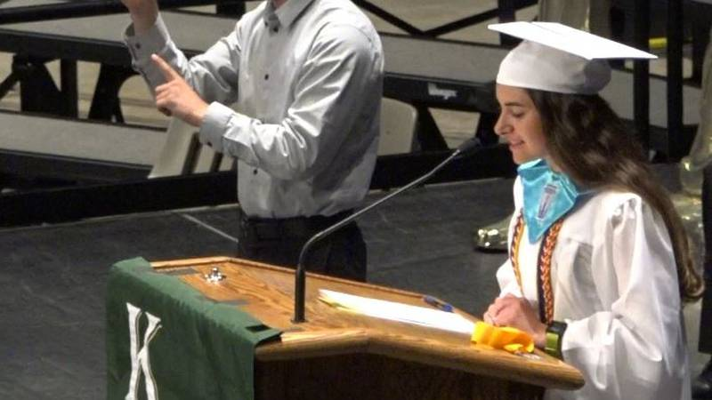 Kelly Walsh's Samantha Veauthier delivers her salutatorian speech at Kelly Walsh's 2021...
