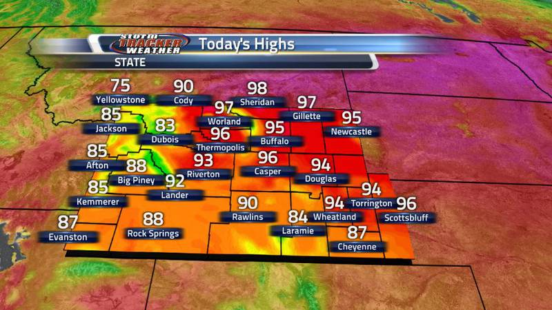 High temperatures in Northern Wyoming this afternoon are expected to approach the triple digit...