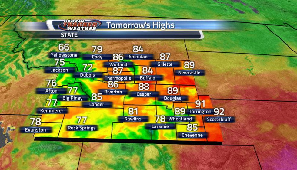 Despite the increase in cloud cover and rain chances, temperatures will be similar to today...