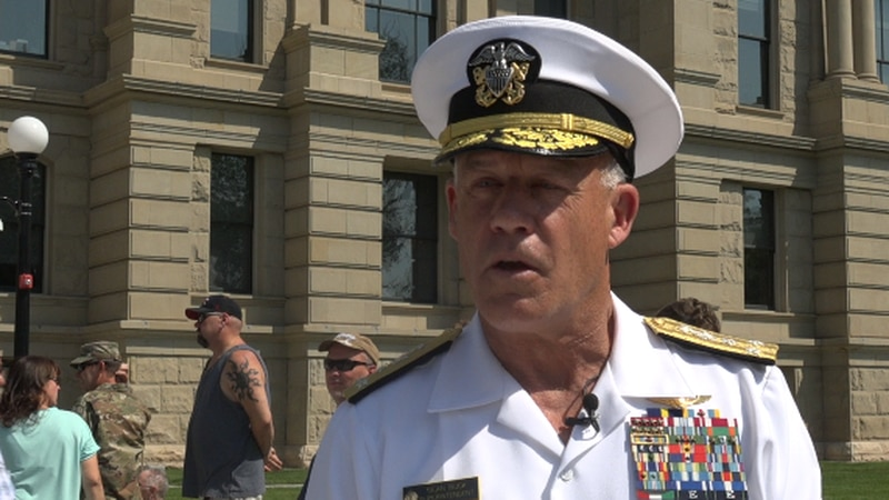 Navy enlists recruits in front of Capitol Monday with Vice Admiral Sean Buck