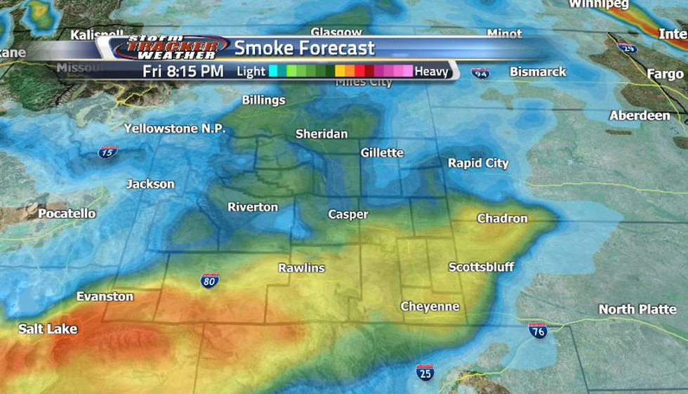 The heavy smoke out the west looks to be moving toward the central and southern regions of the...