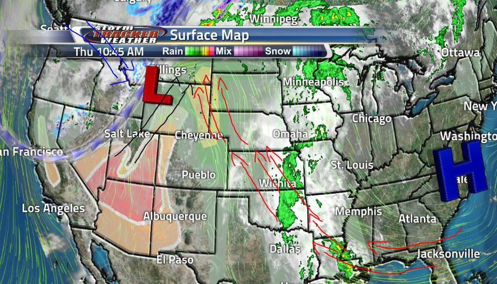 The red arrows on the map represent the warm moist air being driven into the high plains by a...