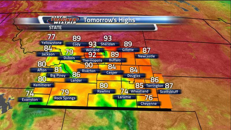 Cloud cover and precipitation will keep the southern region of Wyoming cool while dry...
