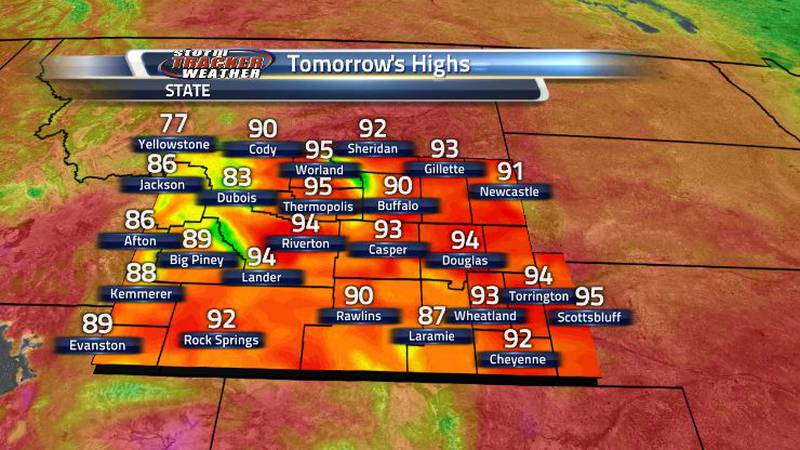 Much of Wyoming tomorrow will see that same unseasonably warm heat that took place last week....