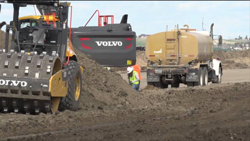 Construction is taking place on the runway at Cheyenne Regional Airport.