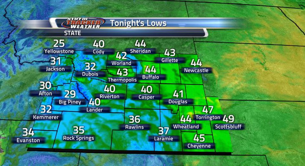Due to that cold front coming in, our lows for tonight will be pretty chilly and the frost...
