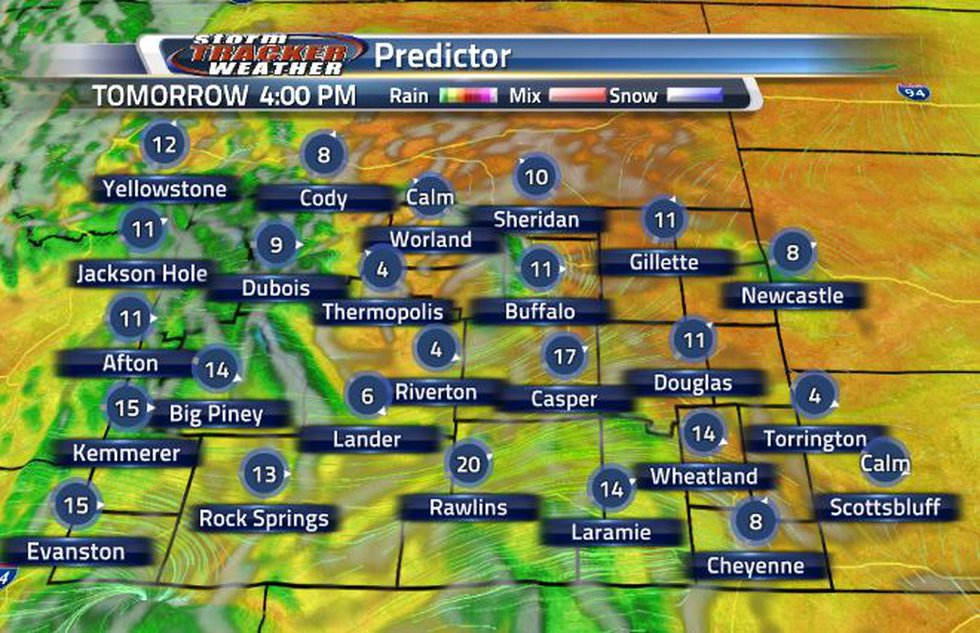 Light clouds will move back into Wyoming from the West.
