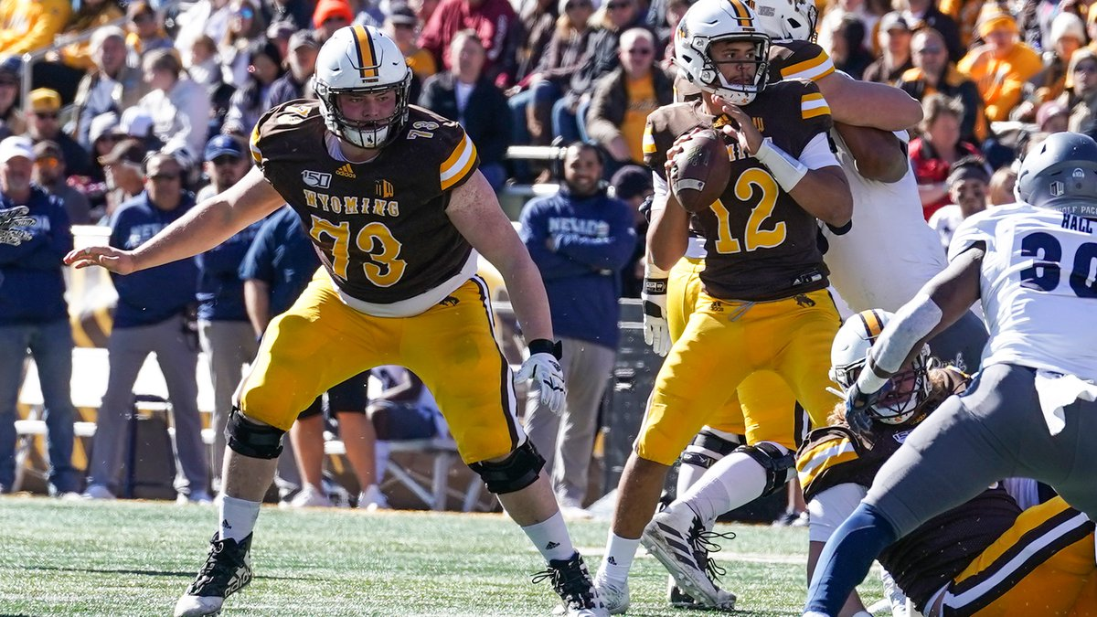 Oct 26, 2019; Laramie, WY, USA; Wyoming Cowboys offensive tackle Keegan Cryder (73) against the...