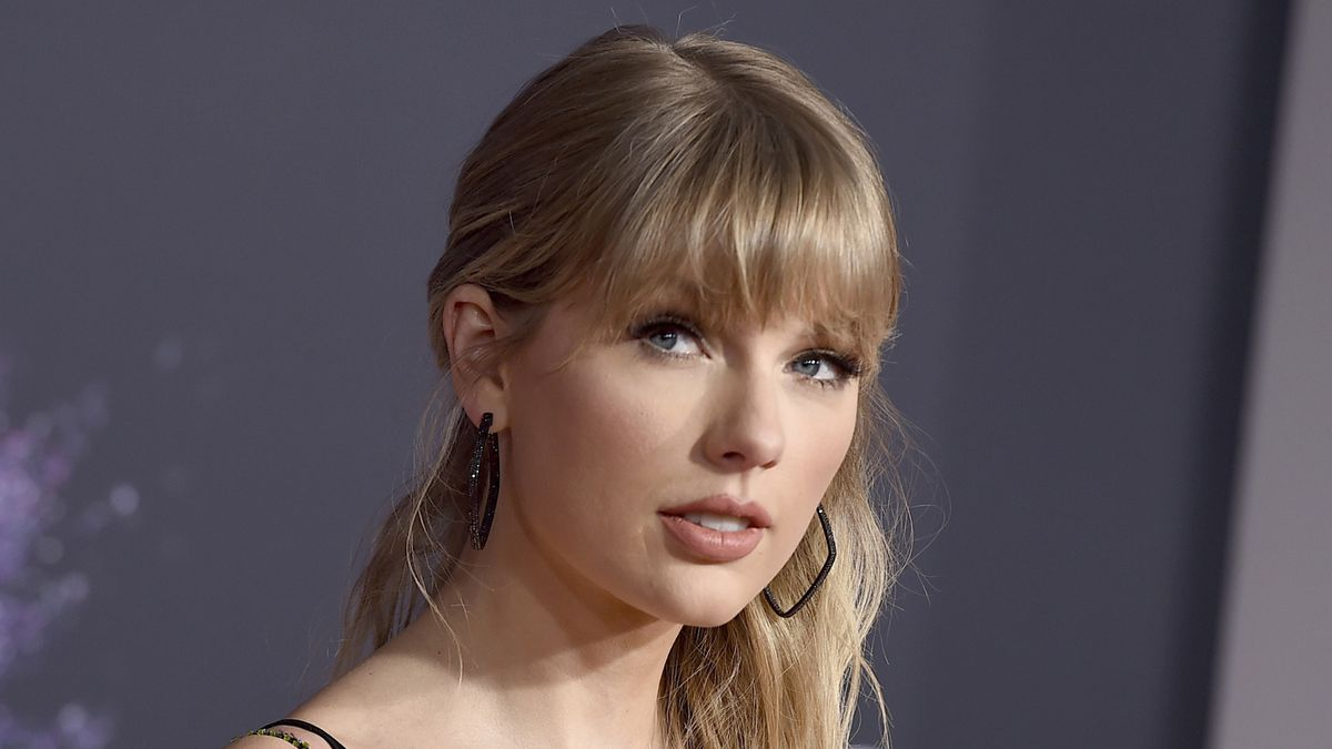 FILE - This Nov. 24, 2019 file photo shows Taylor Swift at the American Music Awards in Los...