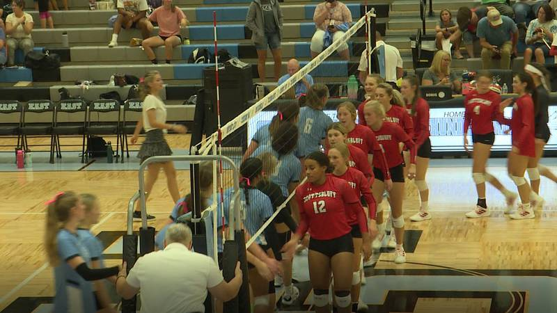 Cheyenne East and Scottsbluff shake hands after the Lady T-Birds swept the Lady Bearcats 3-0.