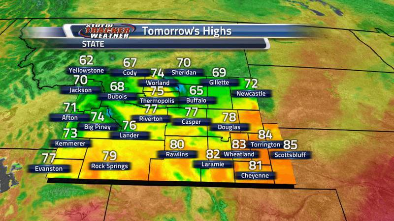 As that cold front comes through, we can see highs all the way down to the 60s in the northern...