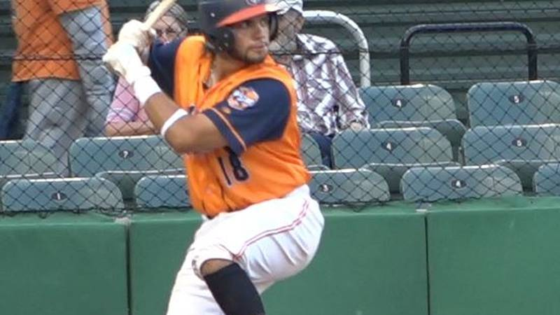 Casper Horsehead All-Star Cristian Lopez loads up to swing during an at-bat at the Expedition...