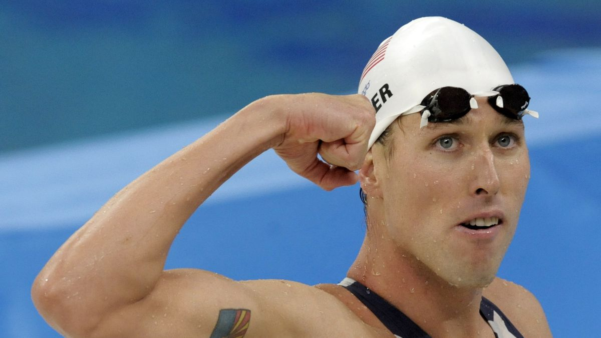 In this  Tuesday, Aug. 12, 2008 file photo, United States' relay swimmer Klete Keller reacts...