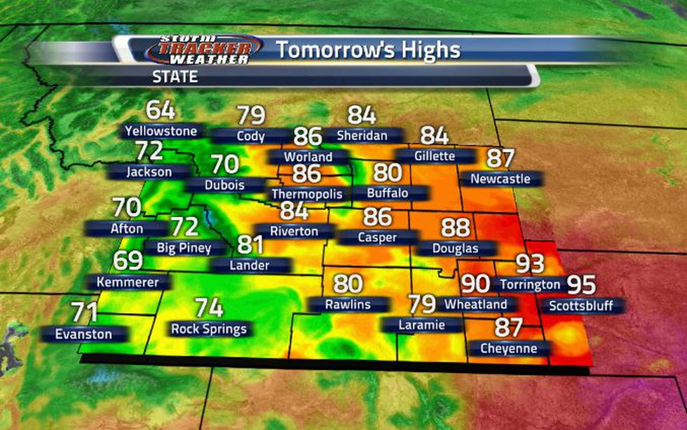 With help from the clouds and showers moving through, high temperatures tomorrow will be cooler.