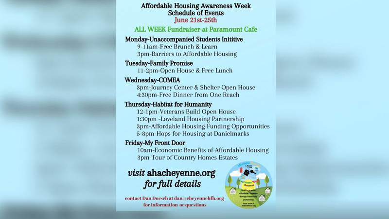 A list of events during Affordable Housing Awareness Week June 21-25.