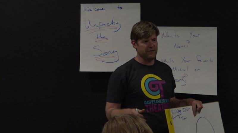 """The instructor at the """"Unpacking the Story"""" class teaching participants about the Aladdin..."""