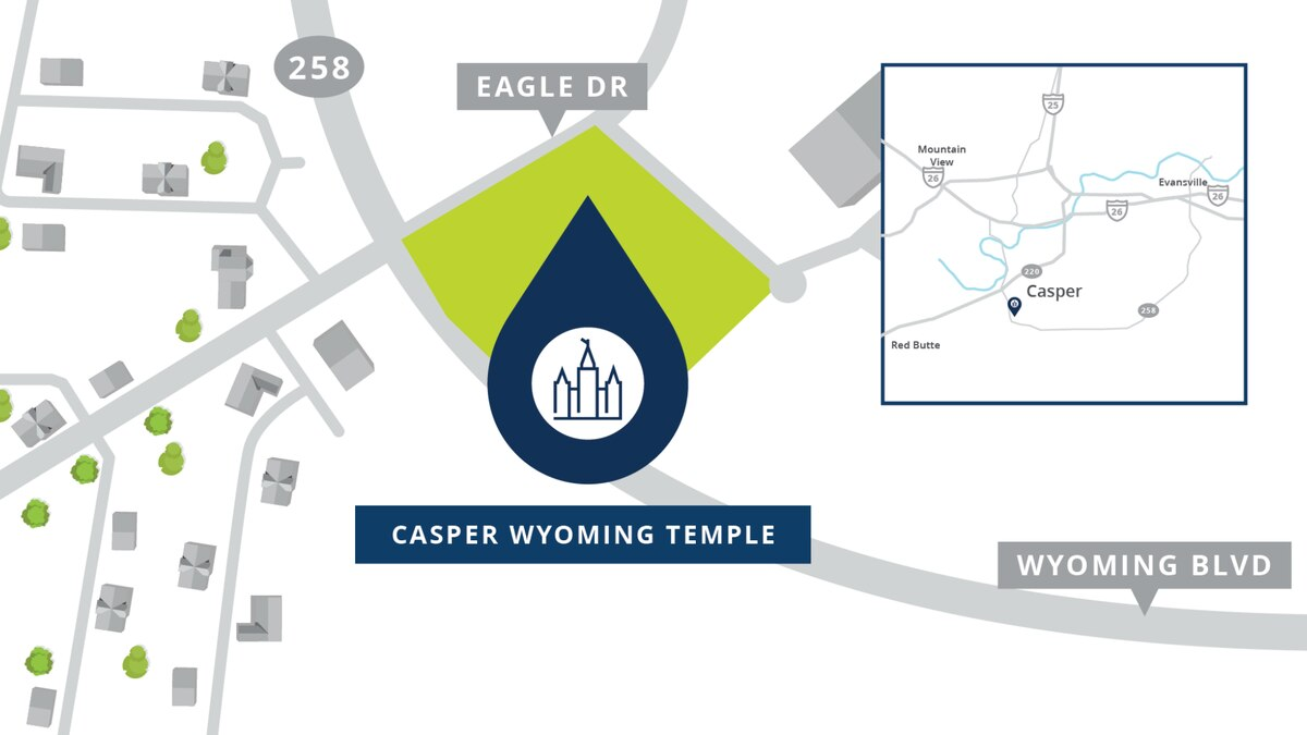 A map of where the new temple for the Church of Jesus Christ of Latter-day Saints will be located