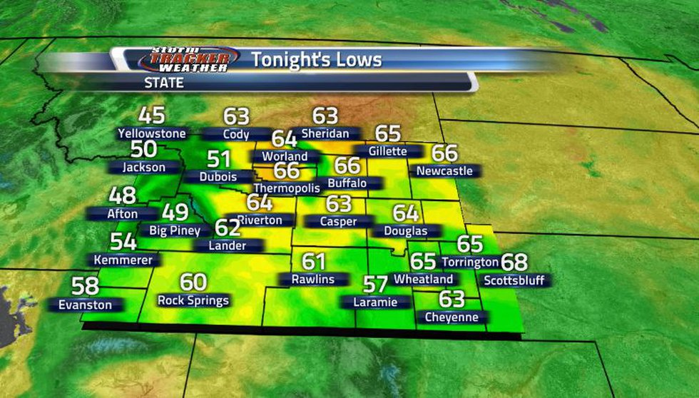 Warmer temperatures tonight as the increasing cloud cover has much of the state in the 60s...