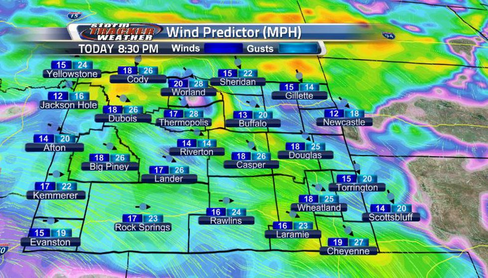Wind speeds will be increasing heading into tonight, and then start to decrease into the...