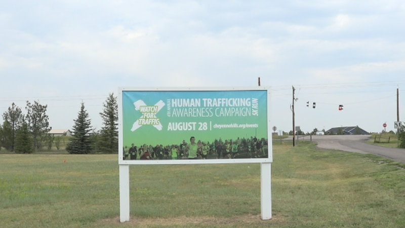 """The sign for Cheyenne Hills Church """"Watch for Traffic"""" Human Trafficking 5K sign"""