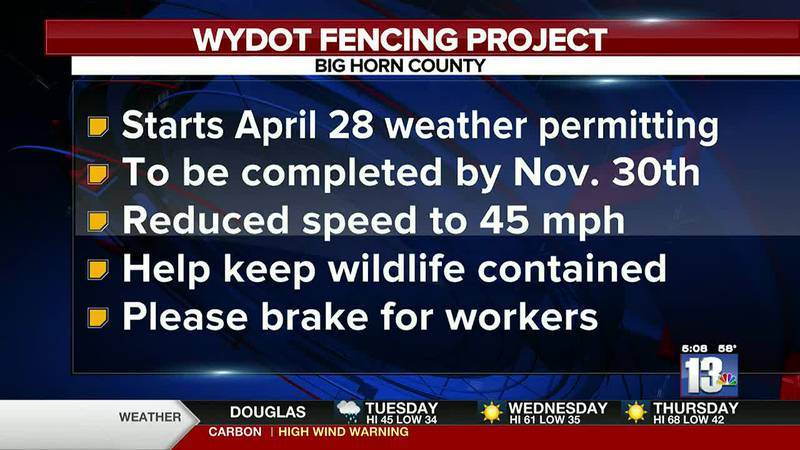 Big Horn County fencing project to begin April 28th, weather permitting