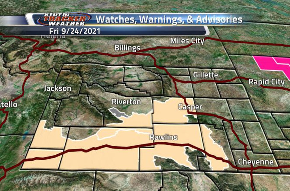 There is an area of Air Quality Warning and a broad area of Fire Weather Watch in state today.