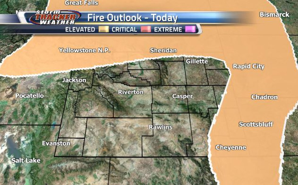 There is Elevated Fire Risk along the northern and eastern borders.