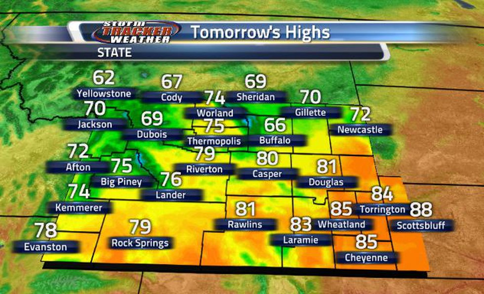 Temperatures will be slightly cooler tomorrow, seeing a range of 70s and 80s across the state.