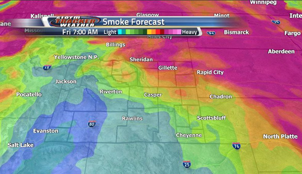 Instead of the heavy smoky conditions we have been seeing lately, the smoke forecast has it...
