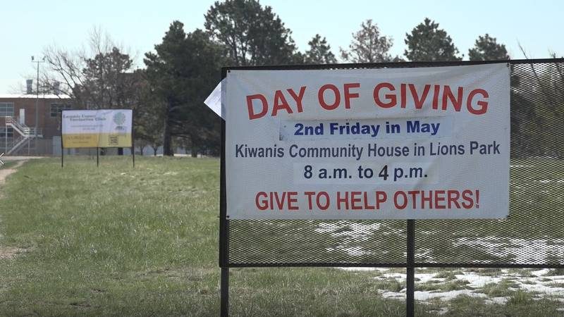 A sign for the 16th annual Day of Giving event in Cheyenne Wednesday morning. The event will be...