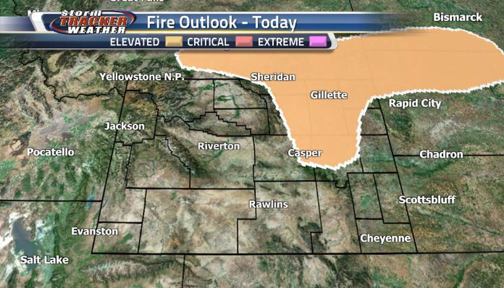 There is an Elevated Fire Risk for the northeastern corner today.