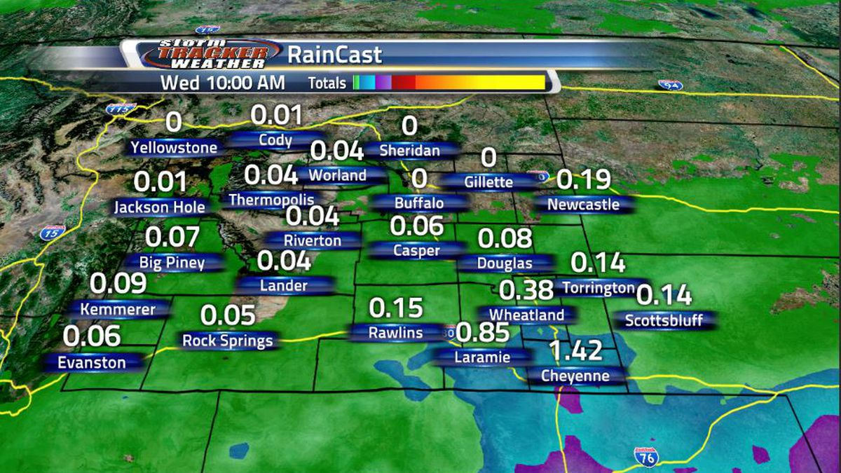 Most of Wyoming will see some form of rainfall between now and Wednesday morning, with the most...