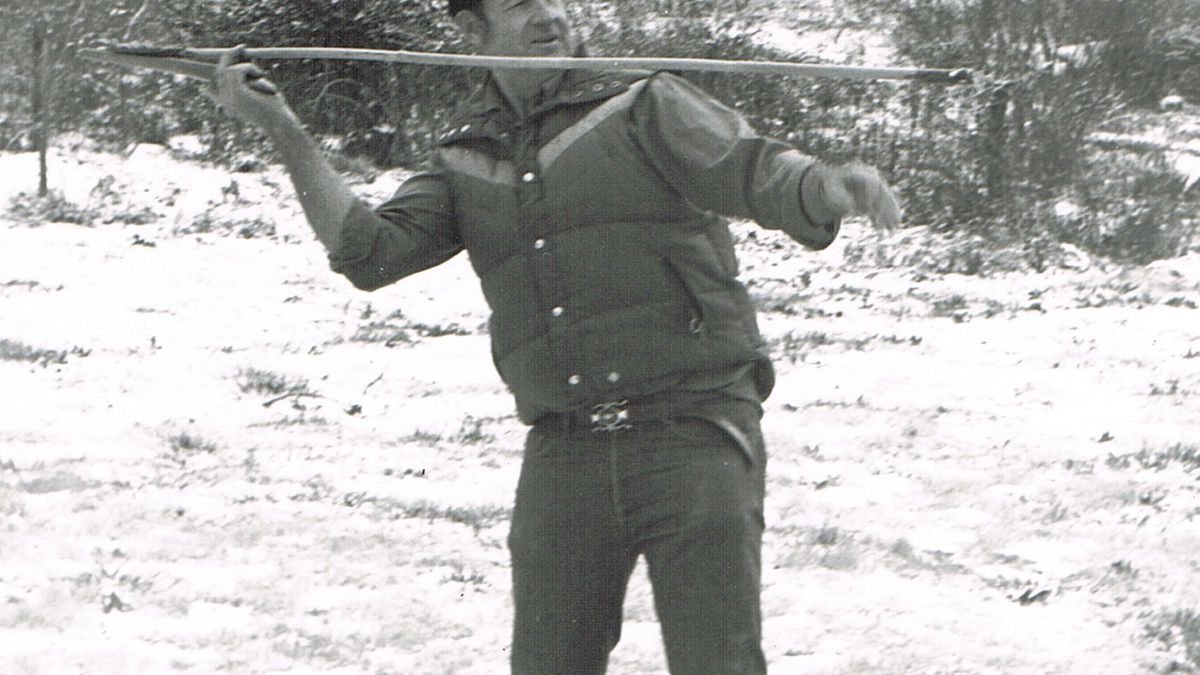 Dr. George Frison demonstrates the use of the atlatl, a highly effective spear-throwing device...