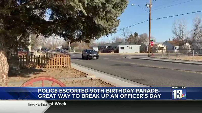 Police Escort for Beatrice Morrow's 90th birthday parade in Riverton, WY