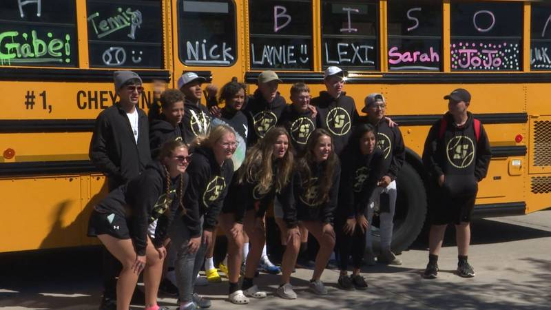 South Tennis poses for a picture before getting on the bus and heading to the 2021 Wyoming...
