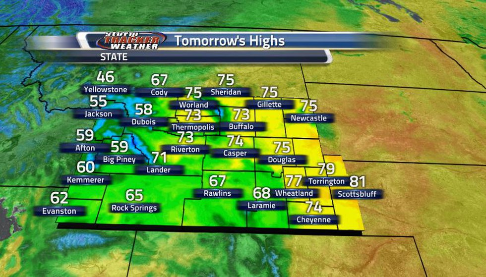 Temperatures are slowly dropping off once again tomorrow as the front continues to move...